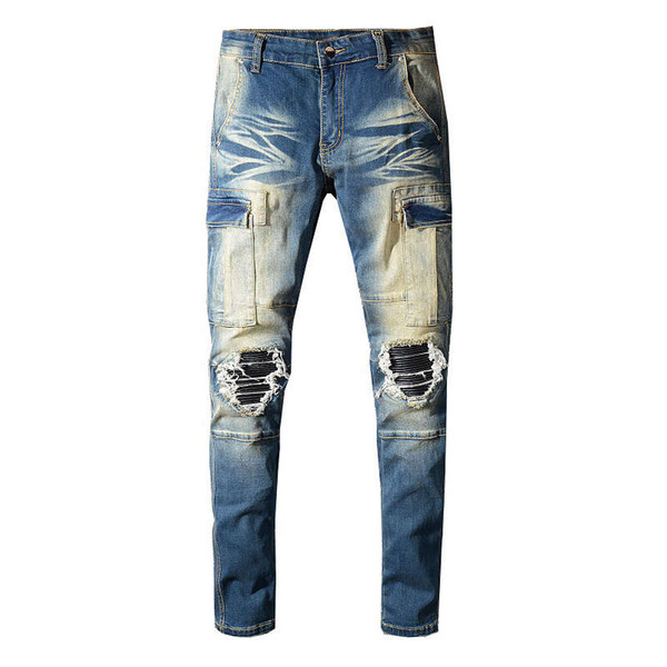 Fashion Streetwear Men Robin Jeans Retro Blue Spliced Designer Ripped Jeans Patch Big Pocket Denim Cargo Pants Hip Hop Slim Jeans For Men