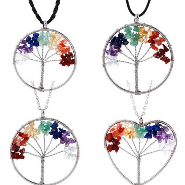 Frauen Regenbogen 7 Chakra Herz Baum Des Lebens Quarz Anhänger Halsketten Naturstein Weisheit Baum Halskette Für Männer Schmuck Geschenk