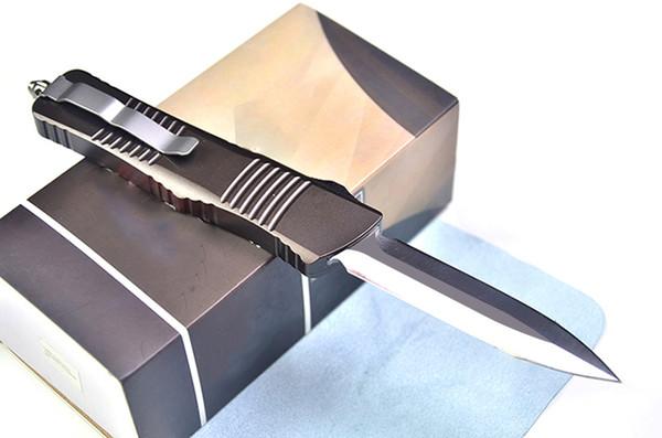 Высококачественный автоматический тактический нож D2 с двумя остриями лезвия (3,8-дюймовый атласный нож) Лезвие T6061 с коричневой ручкой Выживание с нейлоновой сумкой
