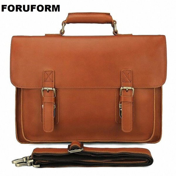 Men's Genuine Leather Briefcase 14 Inch Big Real Leather Laptop Tote Bag Cow Business Bag Brown Messenger LI-2270 #772742