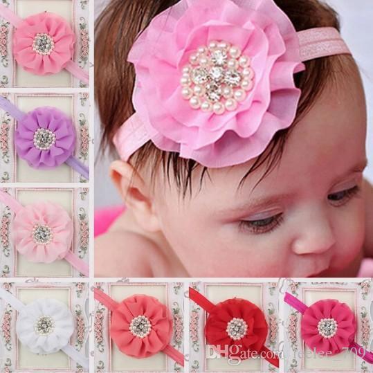Niños calientes Niños Niños Niñas Perla Diamante gasa flor diadema Banda para el cabello Pieza principal Accesorios 15 colores
