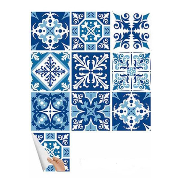 Blue White Art Pattern Tile Wall Sticker DIY Decor Waterproof Adhesive Mural Stickers Furniture Sticker Decals Kitchen Bathroom Sticker Set