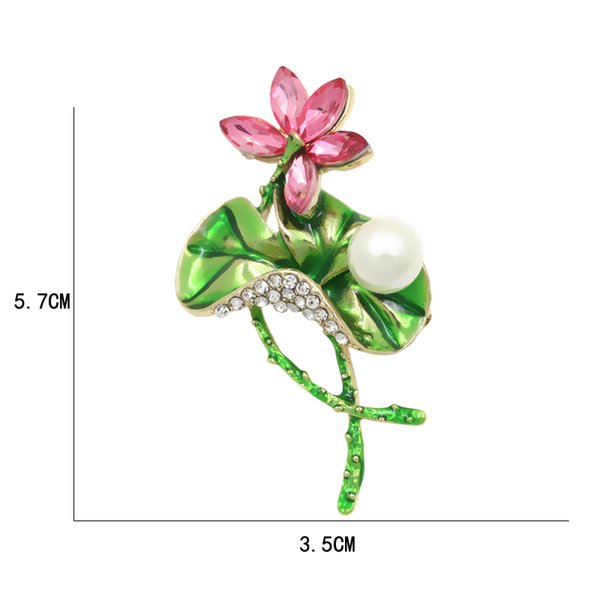 New fashion Factory Direct Sale Enamel Women Lotus Flower Brooch With Pink Crystal Clear Rhinestones And Big Green Leaf accessory 10pcs/lot