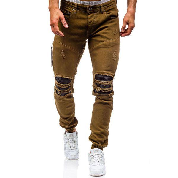 Men Hole Distressed Jeans Skinny Jeans Ripped Slim Mens Biker Fashion Trousers Medium Wash Streetwear Hip Hop Pants Jogger