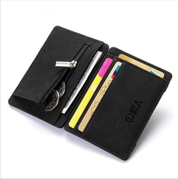 남성 여성 작은 슈퍼 얇은 PU 가죽 매직 지갑 미니 지퍼 동전 지갑 파우치 탄성 신용 은행 플라스틱 ID 카드 케이스 홀더
