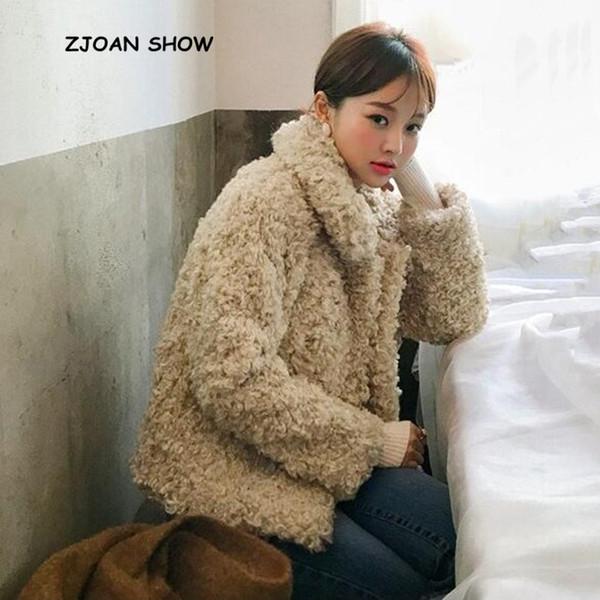 Corea Abbigliamento Risvolto Ricci Cerniera Shaggy Faux Pelliccia di pecora Cappotto Giacca Vintage 2018 New Winter Keep Calda Giacca corta Outwear