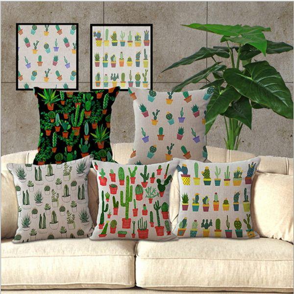 Funda de almohada de diseño más reciente Decoración Cactus tropical Funda de almohada de algodón estampada de lino Funda de almohada de cintura cuadrada para el hogar Fundas de cojín
