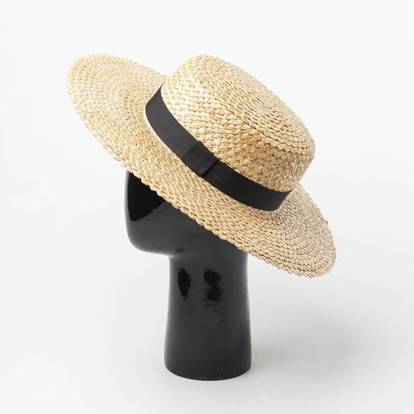 Straw Boater Hat Lady Koren Sun Hat 2019 Summer Vacation Beach Hats UV Protection Handmade Top Quality 691012