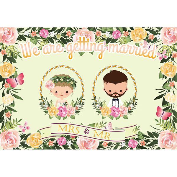 7x5ft Get Married Wedding Flowers Mr Mrs Bridal Shower Washable No Wrinkle Photo Studio Background Backdrop Polyester Fabric