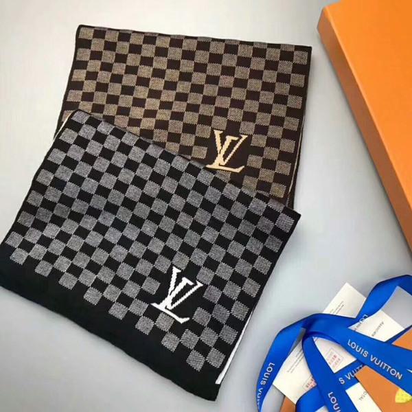 Écharpes de luxe châles marque célèbre foulard pour hommes longues écharpes bonne qualité 180x30cm couleurs brun noir RE-030
