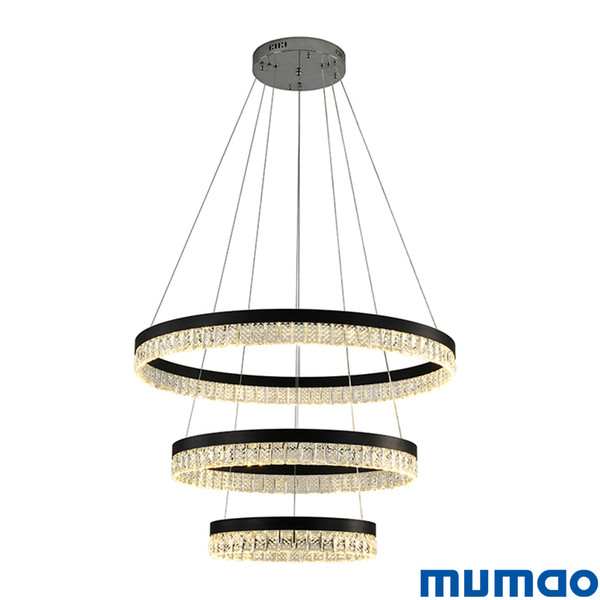 New Modern 3 Circle Rings LED Pendant Lights For Living Dining Room LED Lustre Crystal Pendant Lamp Hanging Ceiling Chandeliers Luminaire