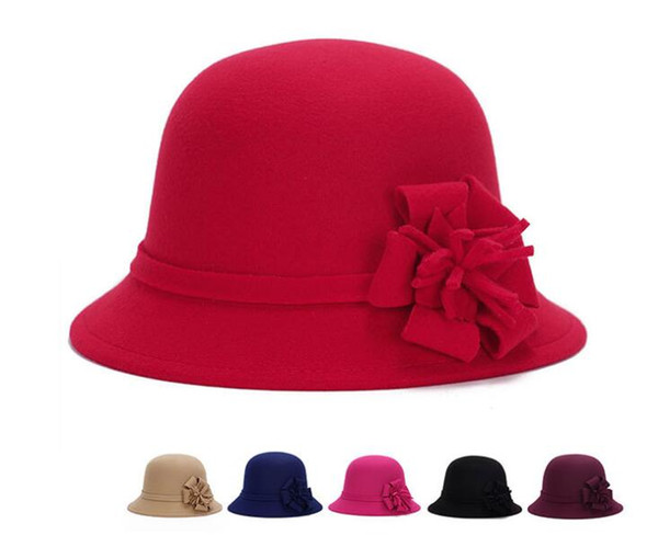 Imitation Wool Round Party Women Hat Ladies Women Vintage Imitation Wool Rose Flower Felt Fedora Hat Fall Winter Cloche Bucket Cap