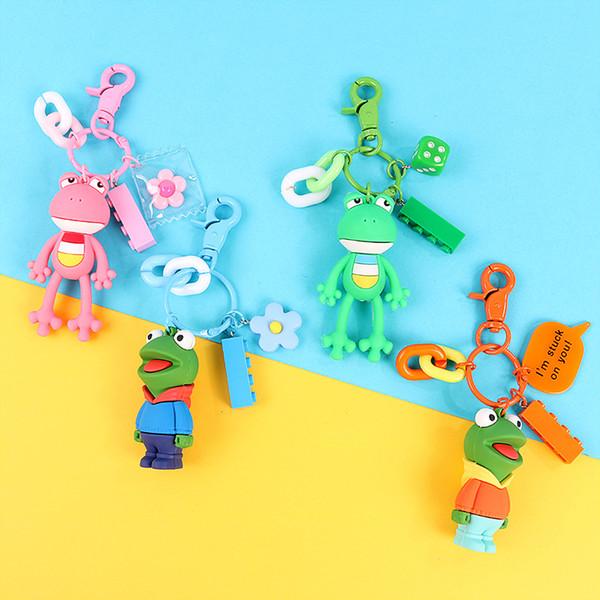 Gros yeux grenouille poupée porte-clés pour hommes et femmes pendentif accessoires porte-clés de bande dessinée mignon en caoutchouc souple animal porte-clés