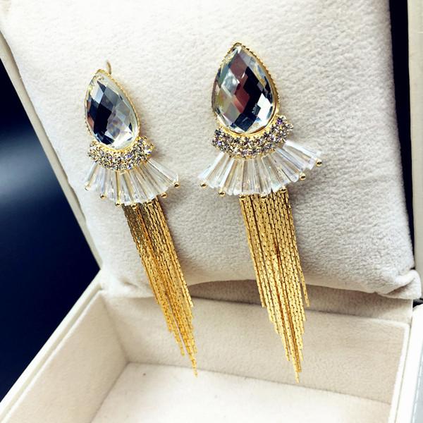 Böhmische Aussage-Ohrring-Art- und Weisebunte Wassertropfen-Quasten-Ohrringe großer hängender Kristallschmucksachen für Geschenk
