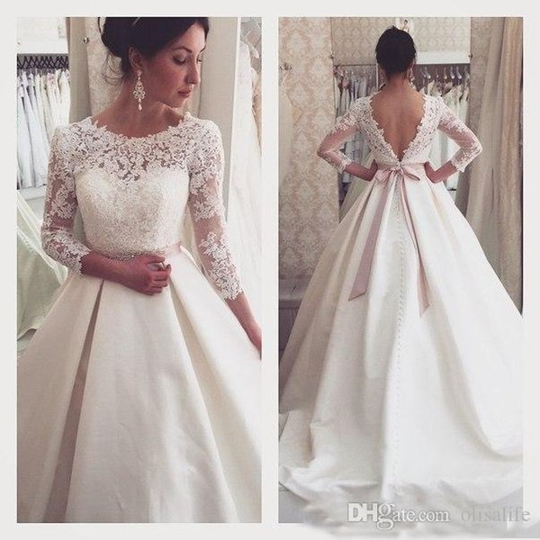 3/4 Long Sleeve Sheer Illusion Vintage Lace Elegant Wedding Dresses Cheap Satin Covered Button Plus Size Bridal With Belts Country