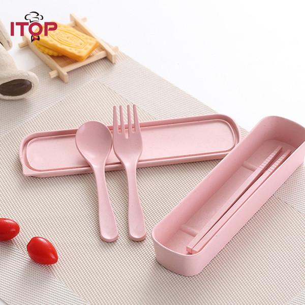 Bamboo Fiber Fork Spoon Chopsticks Children Tableware Environmental Protection Portable Safe Healthy Baby Kids Set Children Dinnerware