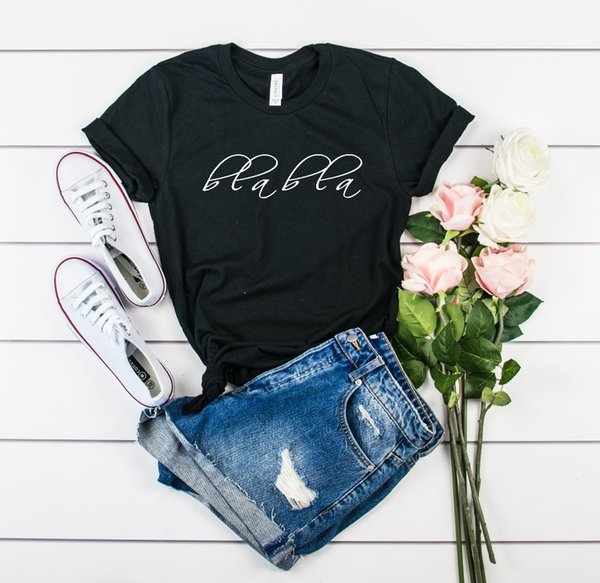 Bla Bla t-Shirt funny women shirts Fashion Clothes tumblr Feminina Camiseta tees Valentine Aesthetic Wedding Day Shirt tops