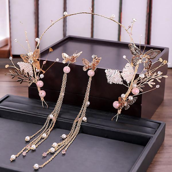 Golden Crystal Women Headband Tiara Butterfly Bridal Hairbands Tassel Earring Set Wedding Bridal Hair Accessories Jewelry Set VL