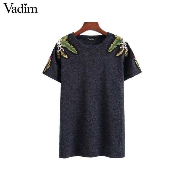 Vadim Women Stylish Floral Embroidery T Shirt Short Sleeve O Neck Basic Tees Ladies Summer Streetwear Chic Tops Camisetas Da092 Y190501301