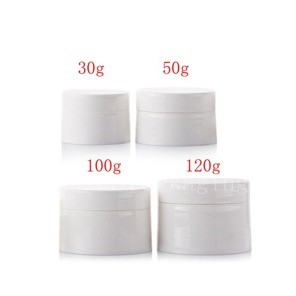 Empty white cosmetics container with screw lid, skin care face cream jar , Plastic pot for cosmetic packaging, more size bottle