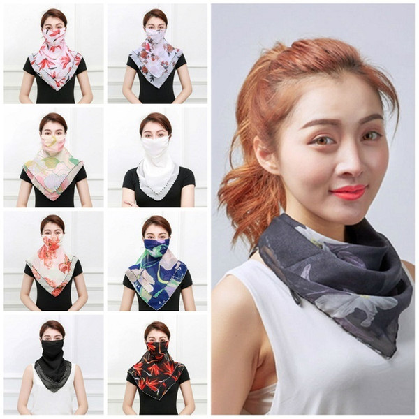 best selling hot Women Scarf Face Mask Silk Chiffon Handkerchief Outdoor Windproof Half Face Dust veil Sunshade Masks Scarf Dust Mask T2I5797