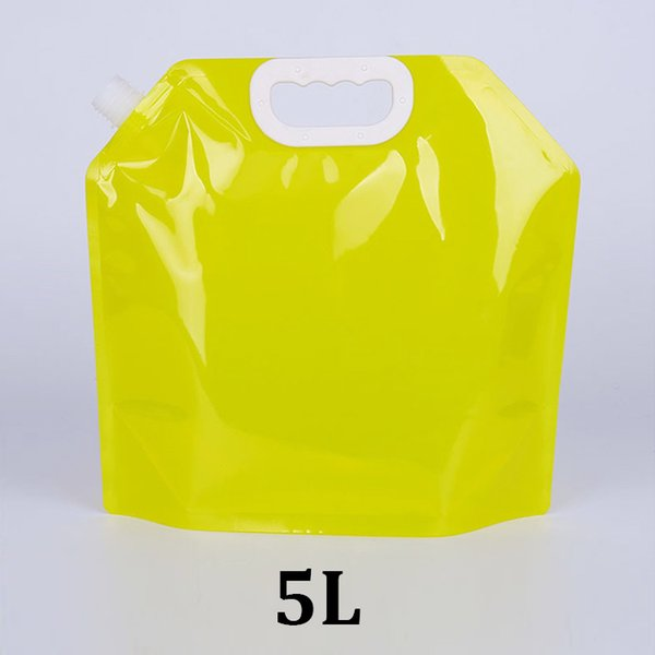 5L yellow food grade packaging standing up spout handle outdoor travel foldable 5000ml plastic collapsible water pouch bag