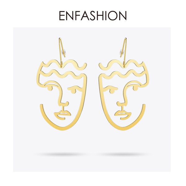 Enfashion Classic Face Earrings Gold Color Silhouette Dangle Earings Big Drop Earrings For Women Long Earring Jewelry Brincos Y19050901