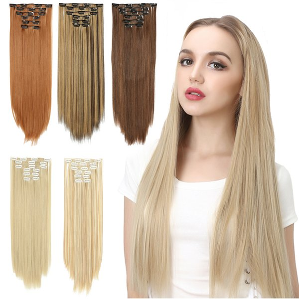 Wholesale 6pcs/set Long Synthetic Clip in Hair Extensions Straight hair 24inch 13 colors 16 Clip on hair for Full Head Black Blonde