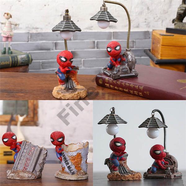 Avengers Spiderman Gece Işıkları Bebek Oyuncakları Led Gece Lambası Reçine Zanaat çocuk Ev Masaüstü Masa Lambası Figürinler Doğum Günü noel Dekorasyon