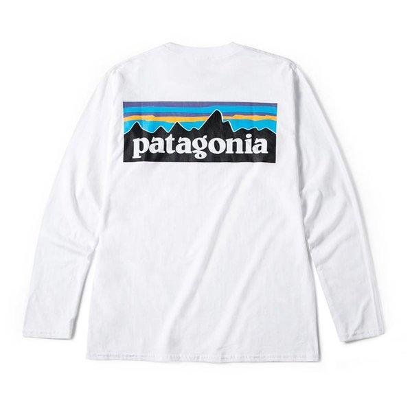 Dağ patagonia Erkekler Tasarımcı Tişörtlü Bahar Beyaz Moda Tshirts Uzun kollu tee Tops Print Güz