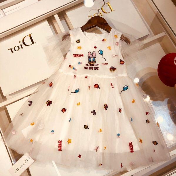 Girls dress kids designer clothing summer fashion fresh style dress high polyester fiber princess skirt light and supple fabric