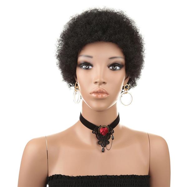 Nova Moda Feminina Macio Curto Solto Pequeno Cabelo Encaracolado Cabelo Real Cabeça de Explosão Conjunto de Peruca de Cabelo Humano