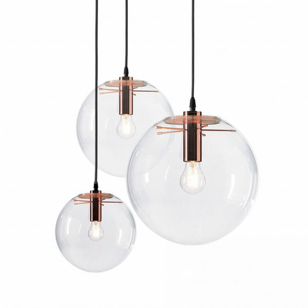 New Suspension Luminaire Designer Glass Chandelier Minmalist Loft Casual Transparent Living Room Bedroom Round Ball E27 Led