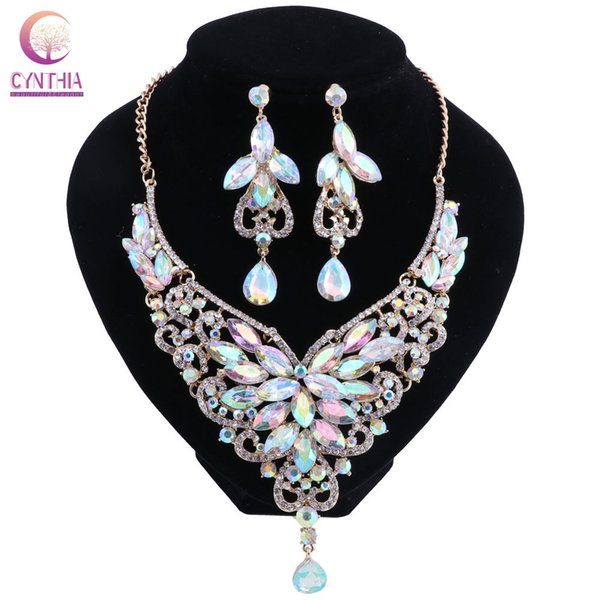 Women's Elegant Bridal Austrian Crystal Necklace Earrings Jewelry Set Gifts for Wedding Dress