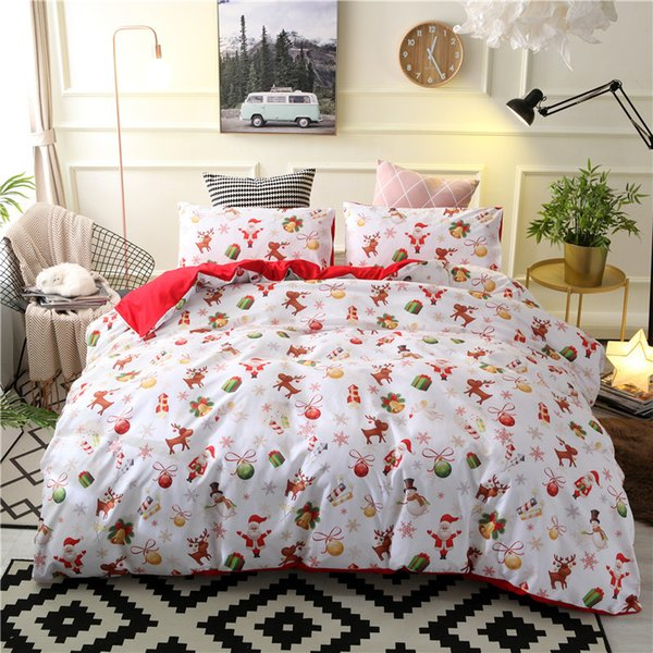 Christmas Bedding.Merry Christmas Bedding Set Xmas Duvet Cover With Pillowcases White Red Color Kids Cartoon Bed Cover Single Double Queen King Size Bedlinen Fairy