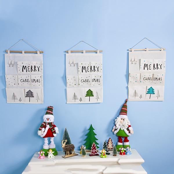 Over Door Wall Organizer Merry Christmas Bag Pocket Hanging Hanger Storage Bag Christmas Decorations For Home Enfeite De Natal