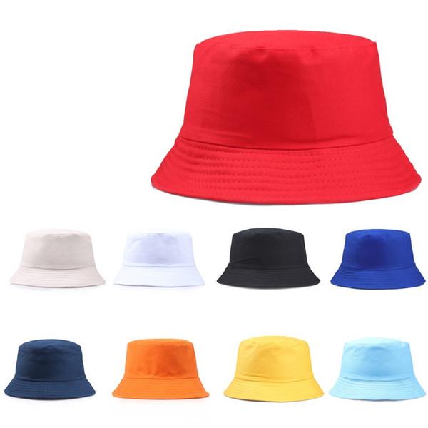 Viajes Pescador Ocio Sombreros de cubo Color sólido Moda Hombres Mujeres Flat Top Wide Brim Summer Cap para deportes al aire libre Visor