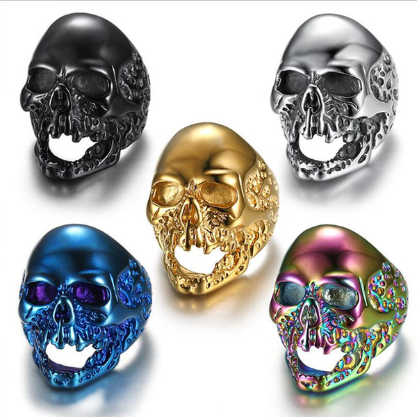 Heavy Men's Black Silver Gold Blue Rainbow Skull Stainless Steel Ring Gothic Vintage Fashion Jewelry Size 7-14