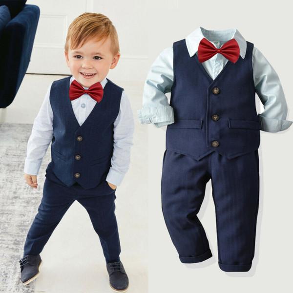 4pcs enfants Vêtements de bébé garçons vêtements haut en coton + pantalon costume tenues smoking 1-7Yrs