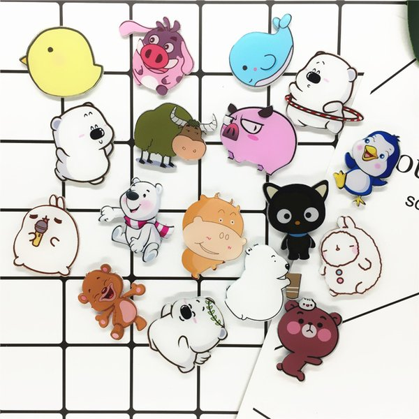 2019 Hot Cute Fashion Cartoon Pattern Acrylic Brooch Clothing Accessories Badge Chest Phone Patch Free Shipping