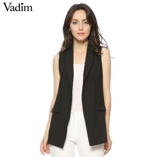 Manteau de poche pour femme élégante de la mode de la femme de bureau gilets sans manches veste marque décontractée WaistCoat colete feminino MJ73