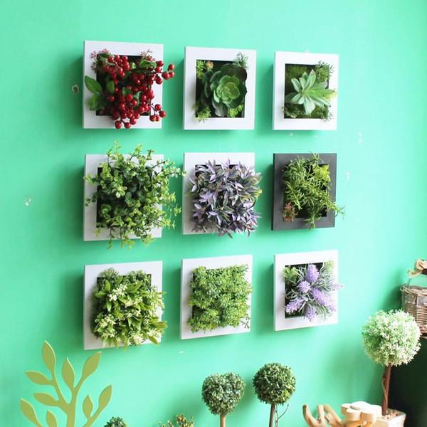 3D Handmade Künstliche Sukkulente Holz Fotorahmen Wandbehang Nachahmung Künstliche Pflanze Wohnkultur Wohnzimmer Gefälschte Pflanze