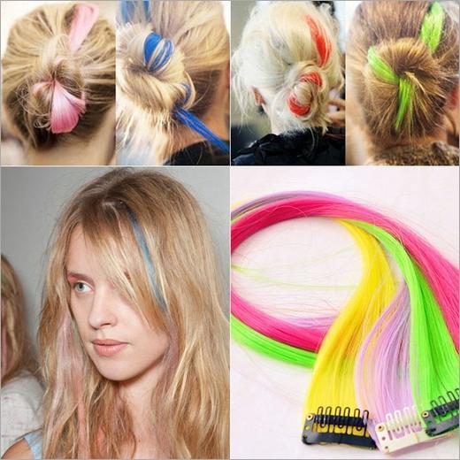 Extensão do cabelo da moda para as mulheres Longo Grampo Sintético Em Extensões Em Linha Reta peruca Partido Destaques Pedaços de cabelo do punk 2019