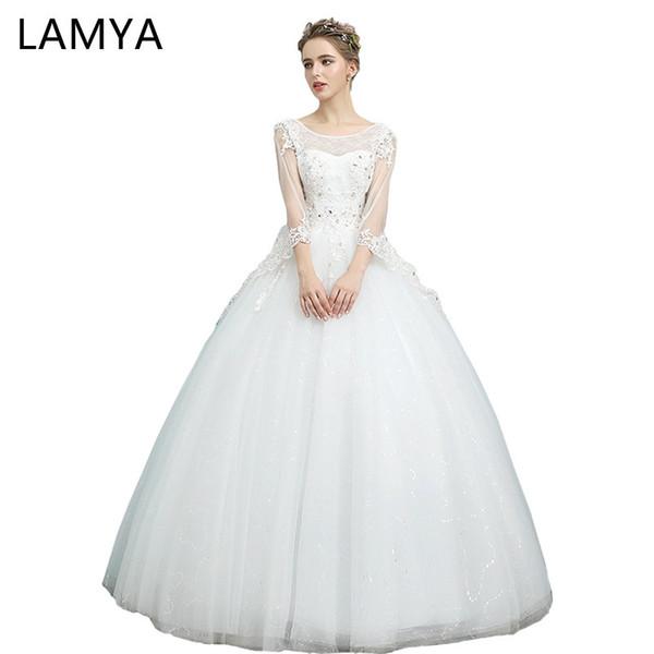 Venta al por mayor Princesa Illusion vestidos de novia elegante coreano vestido de bola vestidos de novia más tamaño ata para arriba Vestidos De Noiva Real Photo