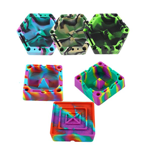 Silicone Cigarette Ashtray With Groves 10 Various Holes And Slots To Hold Cigarette Square Desktop Smoking Ash Tray