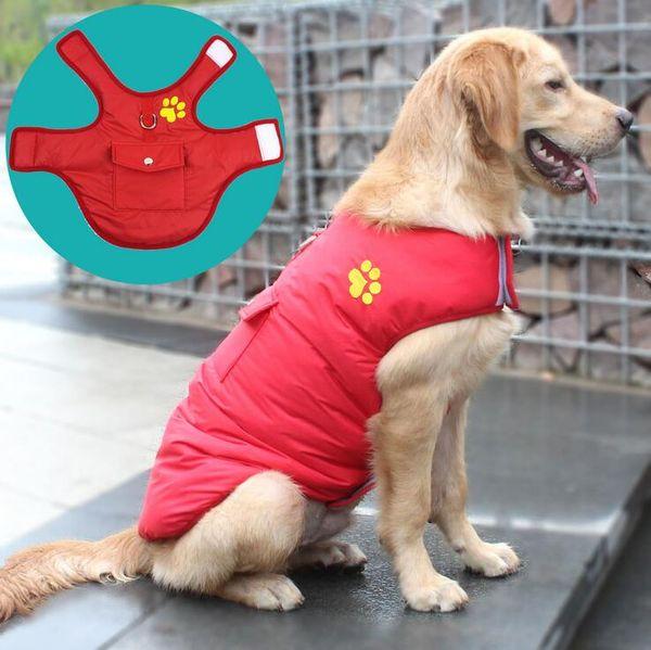 Cozy Waterproof Windproof Reversible Dog Clothes for Large Dogs British Plaid Dog Vest Clothing Winter Coat Warm Dog Jacket Pet Coat US18