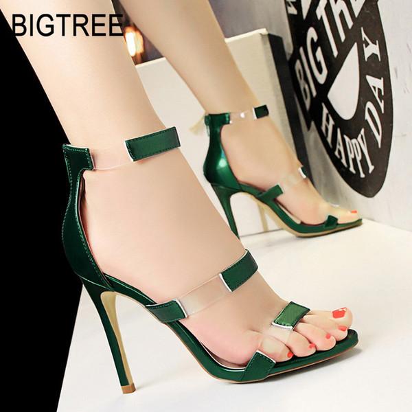 BIGTREE Mulheres Sapatos de Salto Alto Mulheres Bombas Sexy Sandálias Transparentes Sapatos de Salto Alto Nova Festa de Casamento