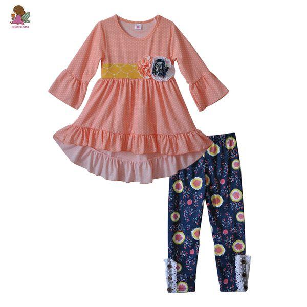 Newborn Baby Clothes Sets Fall Winter Fashion Girls Outfits Infant Pink Ruffle Dress 2 PCS Kids Flower Pants Princess Set F163