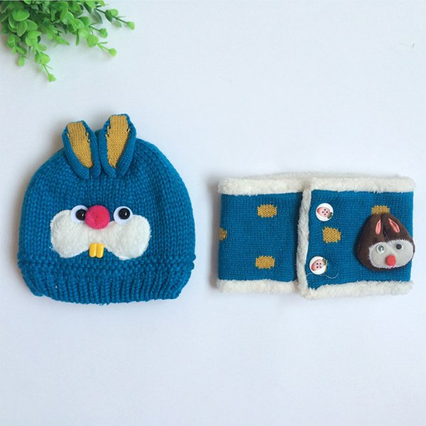 Baby winter 2 PCS hat and scarf set cap rabbit knit beanie bonnet warm plush hat for children neck warmer photography props
