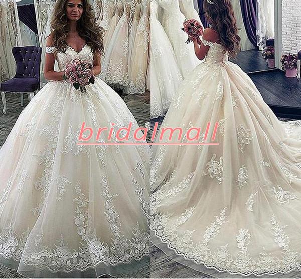 Vestido De Noiva 2020 de encaje apliques vestido de bola vestidos de novia fuera del hombro marfil princesa vestidos de novia de la boda vestidos de novia personalizados